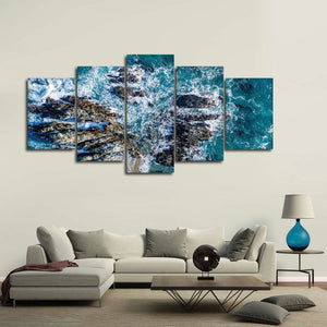 Crash On The Rocks Multi Panel Canvas Wall Art - Beach