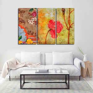 Creative Floral Multi Panel Canvas Wall Art - Shabby_chic