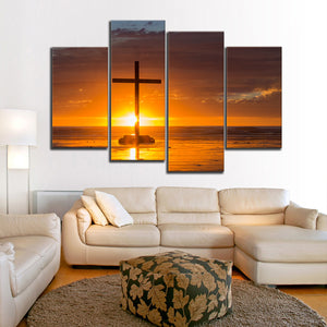Cross Sunset Multi Panel Canvas Wall Art - Religion