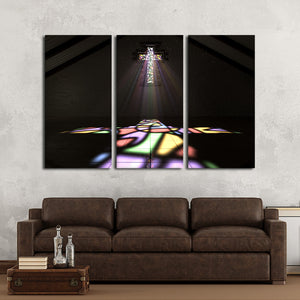 Cross of Light Multi Panel Canvas Wall Art - Religion
