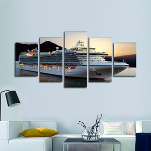 Cruise At Sunset Multi Panel Canvas Wall Art - Boat