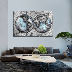 Crumbled Hemispheres Map Multi Panel Canvas Wall Art - World_map