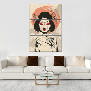 Crying Geisha Multi Panel Canvas Wall Art - Asian