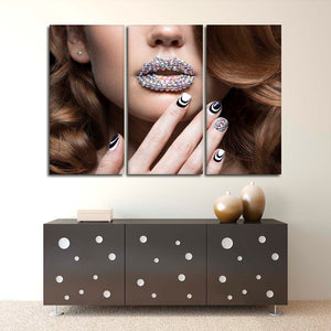 Crystal Look Multi Panel Canvas Wall Art - Nails
