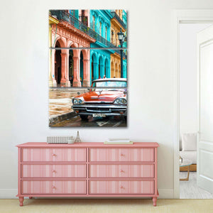 Cuba Fuerte Multi Panel Canvas Wall Art - Car