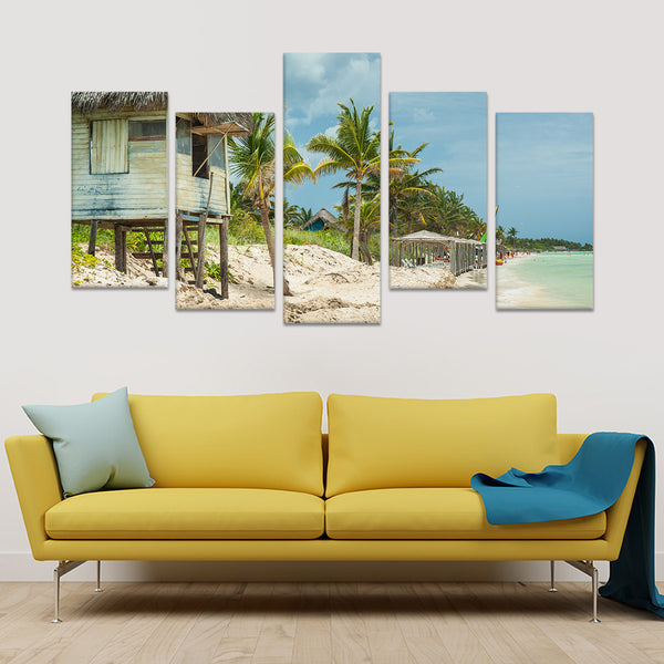 Cuban Beach Multi Panel Canvas Wall Art | ElephantStock