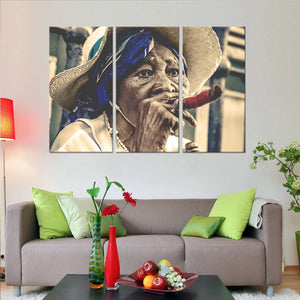 Cuban Woman Multi Panel Canvas Wall Art - Cuba