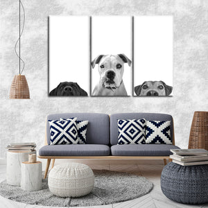 Curious Canines Multi Panel Canvas Wall Art - Dog