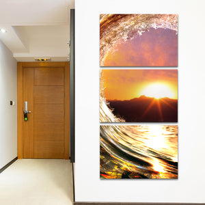 Curling Wave Multi Panel Canvas Wall Art - Surfing