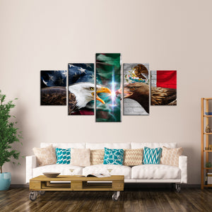 America and Mexico Eagles Flag Multi Panel Canvas Wall Art - Flag