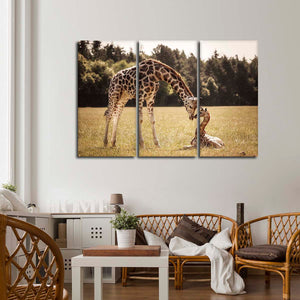 Cute Giraffes Multi Panel Canvas Wall Art - Animals