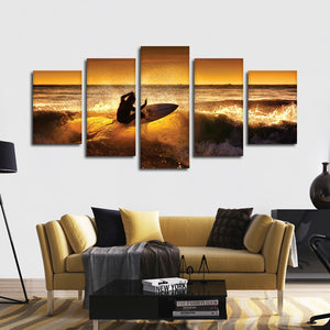 Cutting The Wave Multi Panel Canvas Wall Art - Surfing