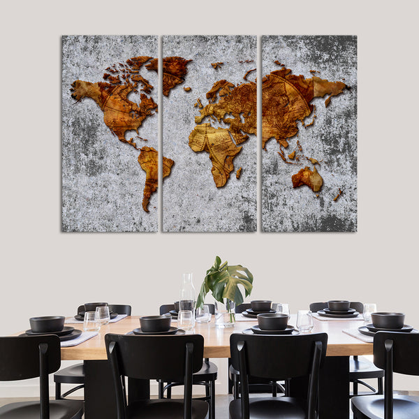 D Antique World Map Multi Panel Canvas Wall Art ElephantStock - 3d world map wall art