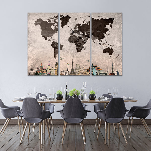 Shades Of Grey World Map Masterpiece Multi Panel Canvas Wall Art - Grey world map canvas