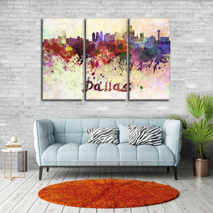 Dallas Watercolor Skyline Multi Panel Canvas Wall Art - City
