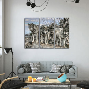 Dances With Wolves Multi Panel Canvas Wall Art - Wolf