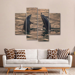 Dancing Dolphins Multi Panel Canvas Wall Art - Dolphin