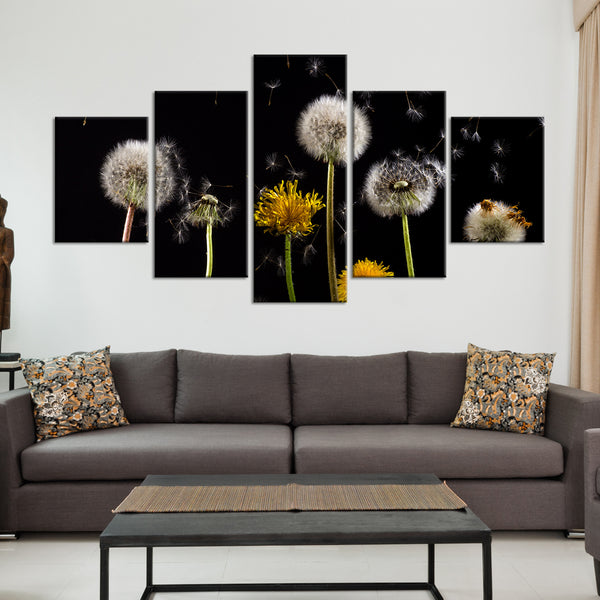 Dandelion In The Wind Multi Panel Canvas Wall Art