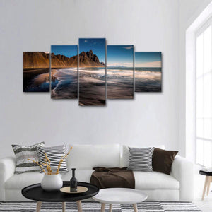 Dark Seacoast Multi Panel Canvas Wall Art - Beach