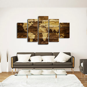 Dark Wood World Map Multi Panel Canvas Wall Art - World_map