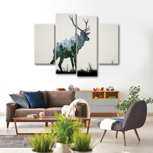 Deer Camouflage Multi Panel Canvas Wall Art - Animals