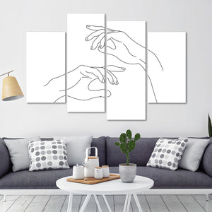 Delicate Hands Multi Panel Canvas Wall Art - Minimalism