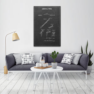 Dental Tool Patent 1 BW Canvas Wall Art - Dental