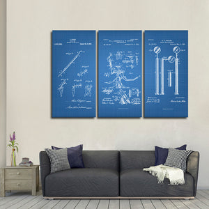 Dentist Patent Compilation Blue Multi Panel Canvas Wall Art - Dental