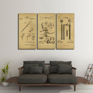 Dentist Patent Compilation Multi Panel Canvas Wall Art - Dental