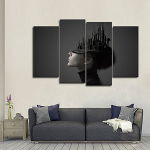 Unseen Character Within Multi Panel Canvas Wall Art - Portrait