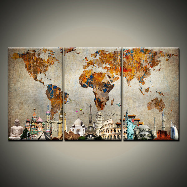 Colorful World Map Masterpiece Multi Panel Canvas Wall Art - Colorful world map