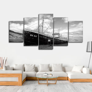 Deserted Ship Multi Panel Canvas Wall Art - Boat