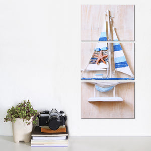 Wooden Blue Boat Multi Panel Canvas Wall Art - Nautical