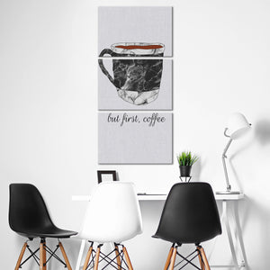 Coffee Is Always First Multi Panel Canvas Wall Art - Coffee
