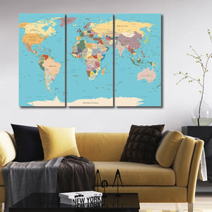 Detailed World Map Multi Panel Canvas Wall Art - World_map