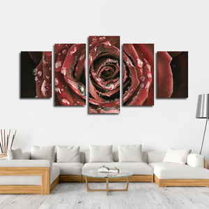 Dewy Rose Multi Panel Canvas Wall Art - Flower
