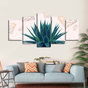 Diamond Agave Multi Panel Canvas Wall Art - Botanical