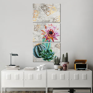 Diamonds Around Cacti Multi Panel Canvas Wall Art - Botanical