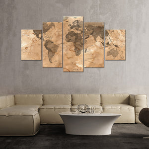 Dirty World Map Multi Panel Canvas Wall Art - World_map