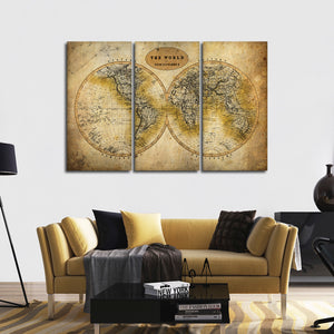 Discover The World Map Multi Panel Canvas Wall Art - World_map