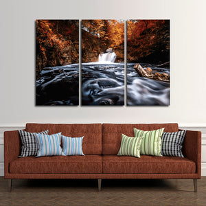 Divine Waterfall Multi Panel Canvas Wall Art - Nature