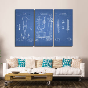 Doctor Patent Compilation Blue Multi Panel Canvas Wall Art - Medical