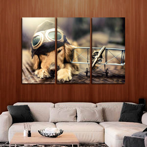 Dog Pilot Multi Panel Canvas Wall Art - Dog
