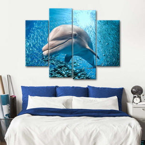 Dolphin Close Up Multi Panel Canvas Wall Art - Dolphin