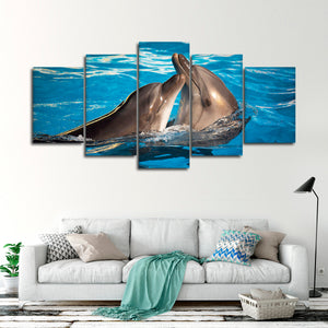 Dolphin Love Multi Panel Canvas Wall Art - Dolphin