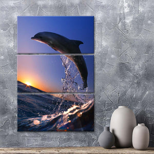 Dolphin Watching Sunset Multi Panel Canvas Wall Art - Dolphin