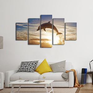 Dolphin Jumping Multi Panel Canvas Wall Art - Dolphin