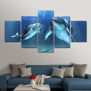 Dolphins Multi Panel Canvas Wall Art - Dolphin