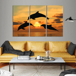 Dolphins at Clearwater Multi Panel Canvas Wall Art - Dolphin