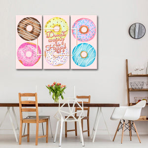 Donut Worry Multi Panel Canvas Wall Art - Kitchen